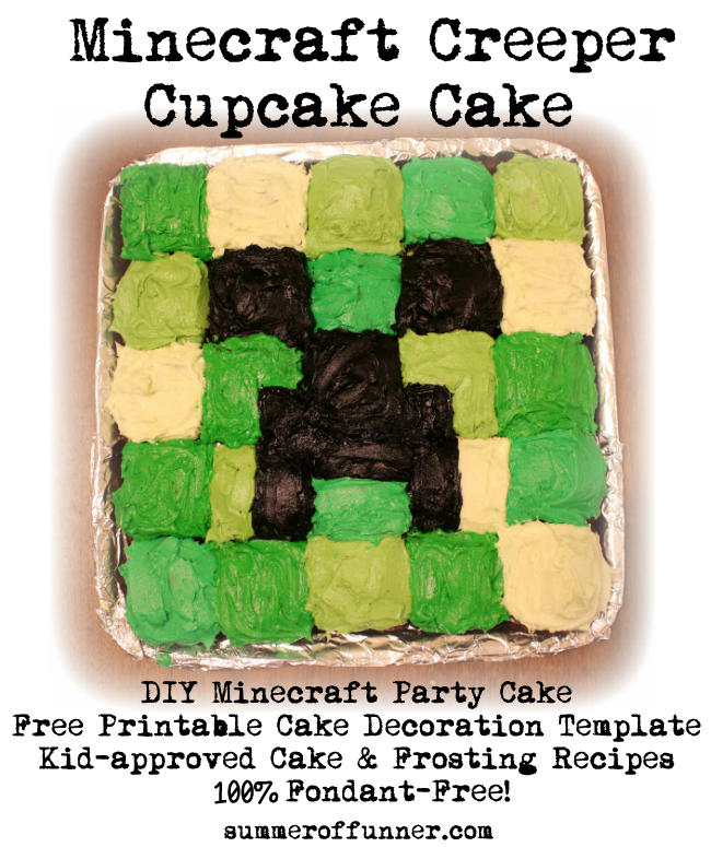 Cake Decoration Printable : Minecraft Creeper Cupcake Cake - Summer of Funner