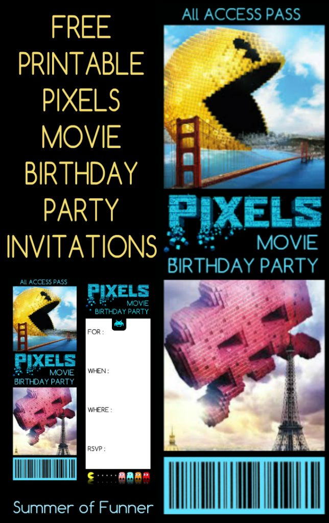 Free Printable Pixels Movie Birthday Party Invitations Summer of