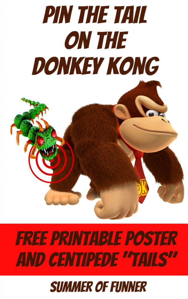 Pin the Tail on the Donkey Kong  Free Printable Poster and