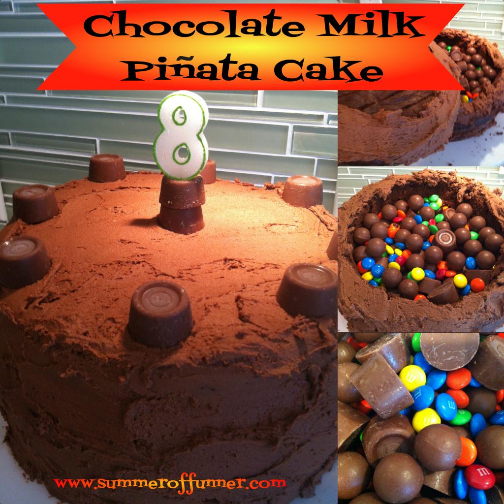 Awe Inspiring Birthday Surprise Chocolate Milk Pinata Cake Summer Of Funner Funny Birthday Cards Online Amentibdeldamsfinfo