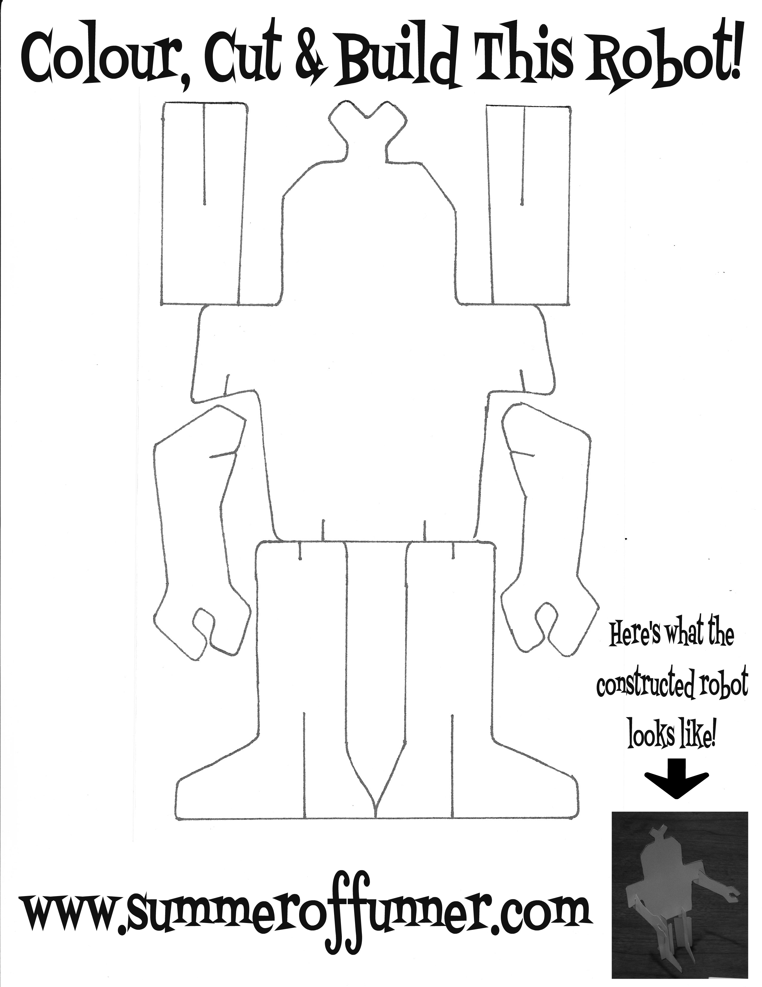 Colour Cut and Build This Robot Free Printable Robot Template from Summer of Funner dot Com