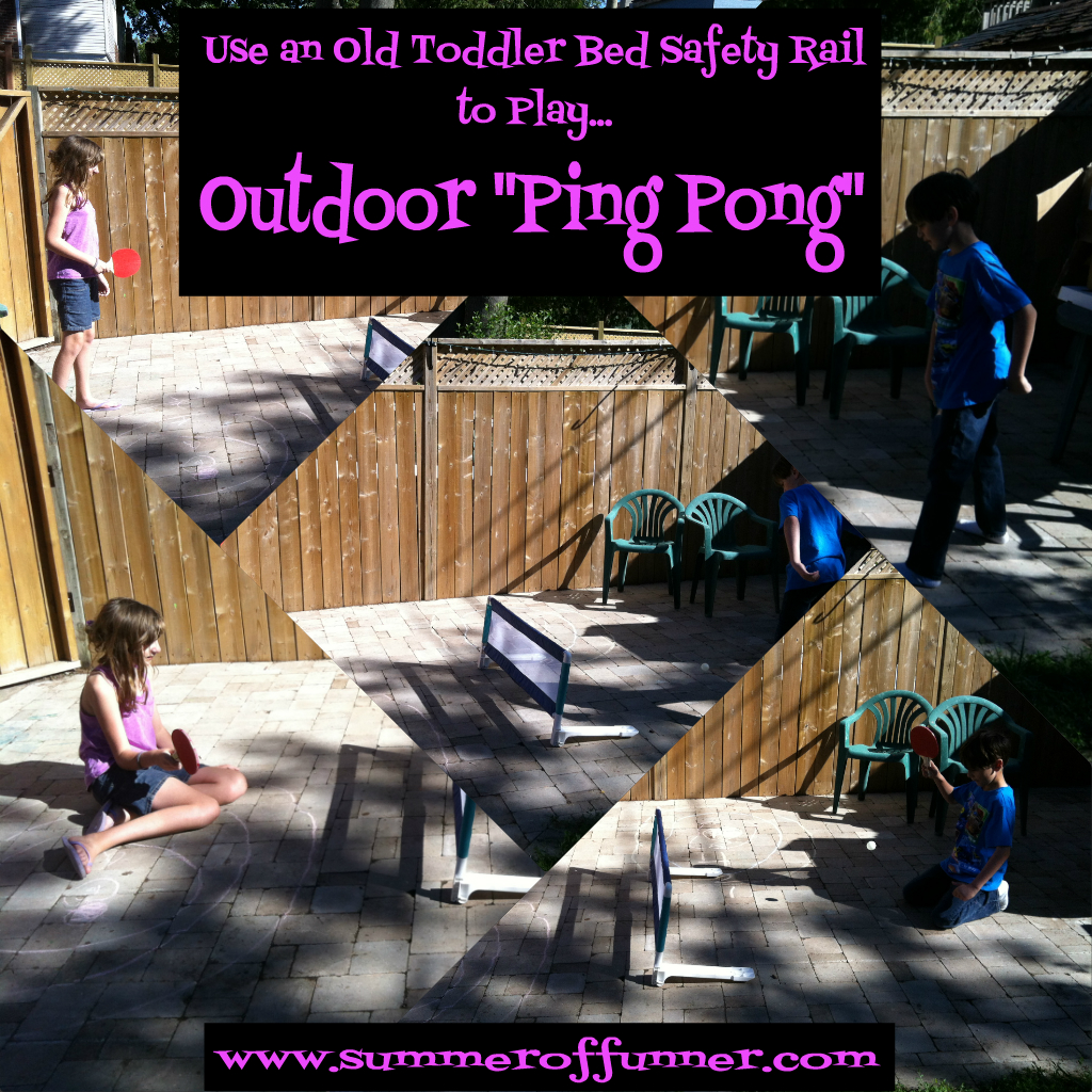 Use an old toddler bed safety rail to play Outdoor Ping Pong