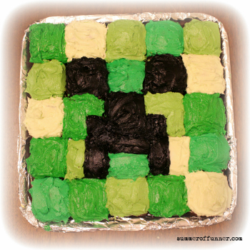 Minecraft Creeper Cupcake Cake Summer Of Funner