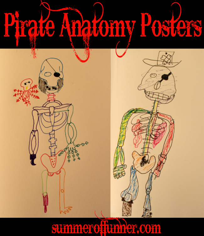 Pirate Anatomy Posters - a great kids craft for a pirate party or for halloween