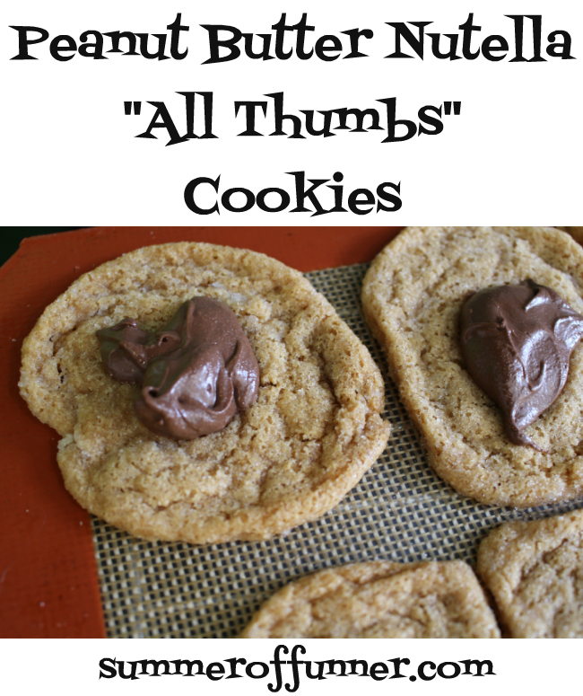 soft and super chewy peanut butter nutella all thumbs cookies