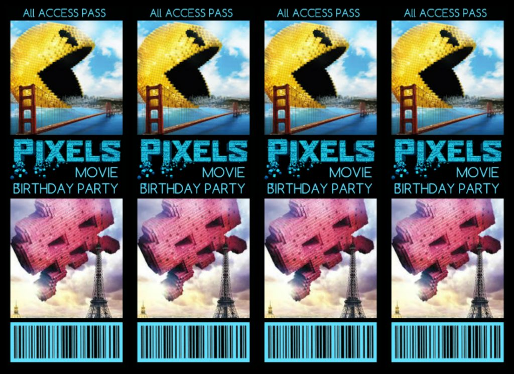 Free Printable Pixels Movie Birthday Party Invitations from Summer of Funner Front Side 850x1100