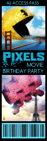 Free Printable Pixels Movie Birthday Party Ticket Invitation, Front Side, Summer of Funner