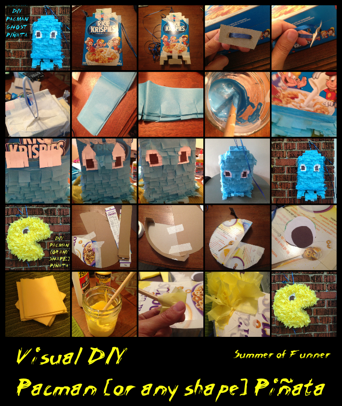 Visual DIY Pacman or Any Shape Pinata  No super messy paper mache! just cereal boxes