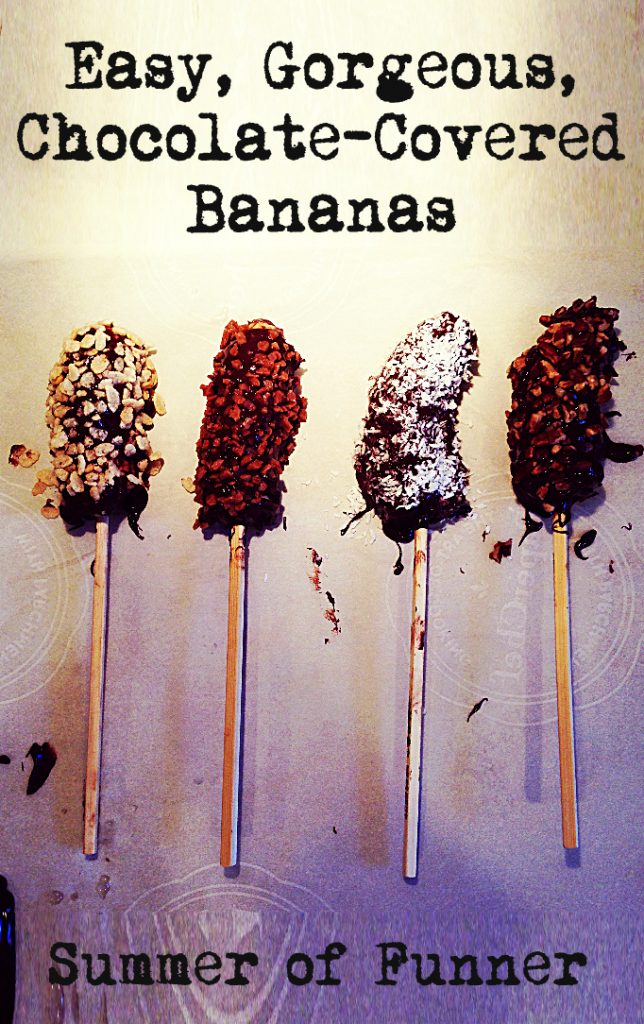 Easy Gorgeous Chocolate Covered Bananas for your Kids Party or a fancy summer fete , served cold or frozen, with cereal, candies, coconut, or nuts