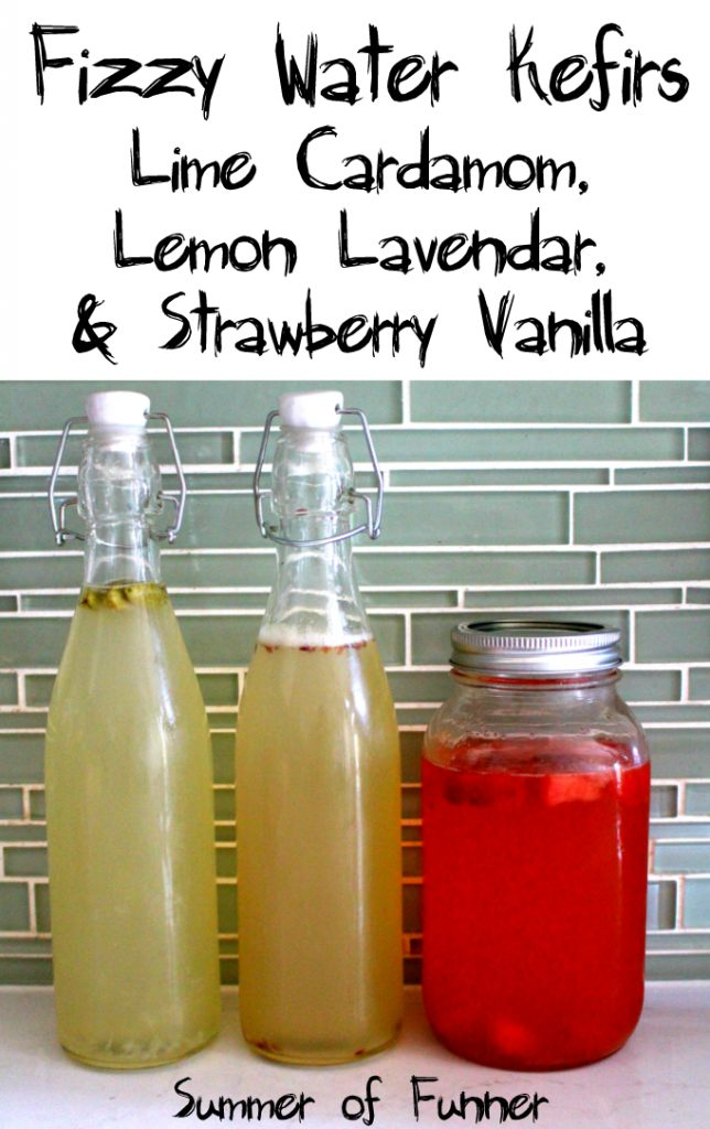 Fizzy Water Kefirs Lime Cardamom Lemon Lavendar and Strawberry Vanilla on Summer of Funner Kid Friendly healthy sips