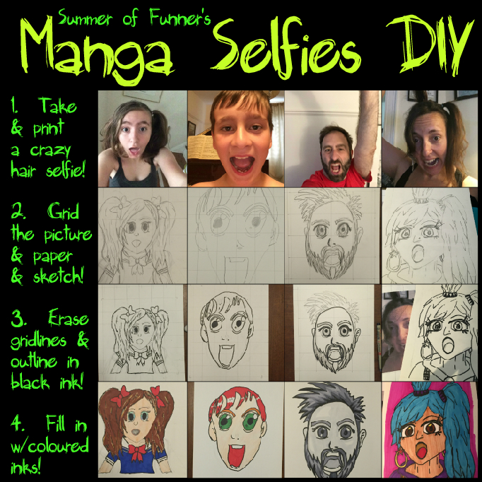 Summer of Funner's Manga Selfies DIY a fun summer or anytime craft for kids of all ages